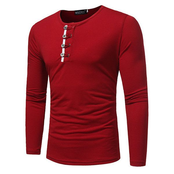 s button decoration solid color casual cotton t-shirt ($28) ❤ liked on Polyvore featuring men's fashion, men's clothing, men's shirts, men's t-shirts, men, red, mens long sleeve cotton shirts, mens collared shirt, mens red t shirt and mens collar t shirts