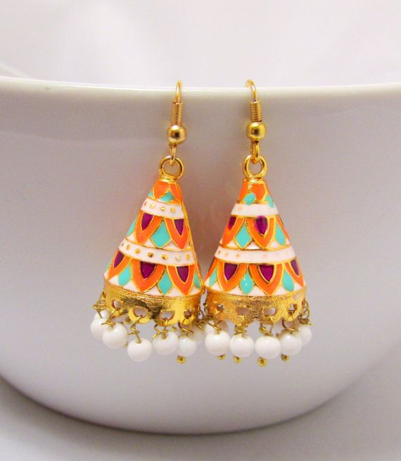 Meenakari Hand Painted Jhumka Earrings by RumiCollections on Etsy