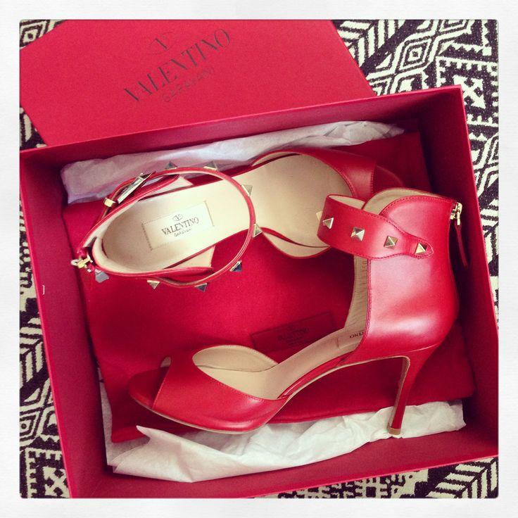 Valentino Rockstud Sandals Red