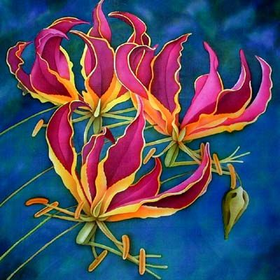 Silk Painting Gloriosa Rothschildiana