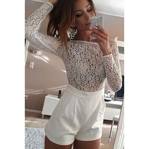 Stylish Round Neck See-Through Lace Spliced Long Sleeve Romper For Women -  White - M