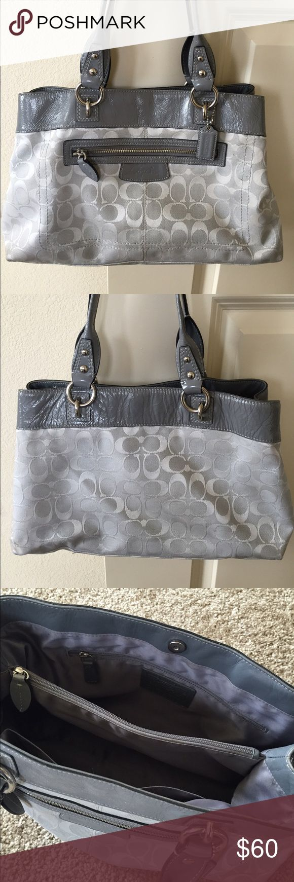 Gray Coach Purse Nice, clean gray Coach purse. I purchased this purse on Poshmark several months ago, got some great use out of it, and am now ready to let someone else enjoy it. Coach Bags Shoulder Bags
