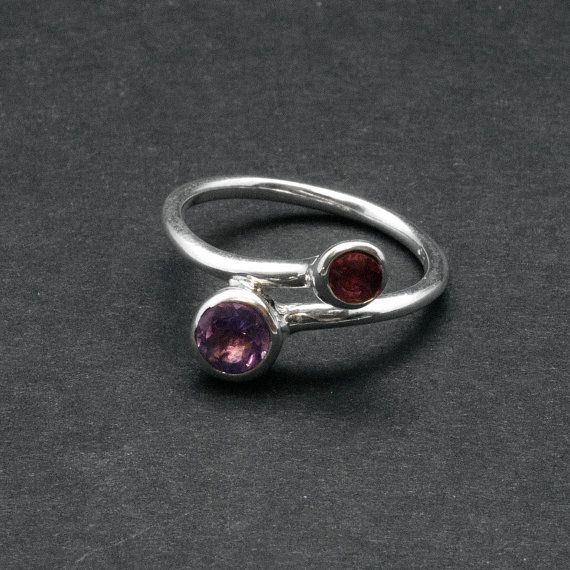 Twist Dual Stone Ring Purple Amethyst Red by SunSanJewelry on Etsy