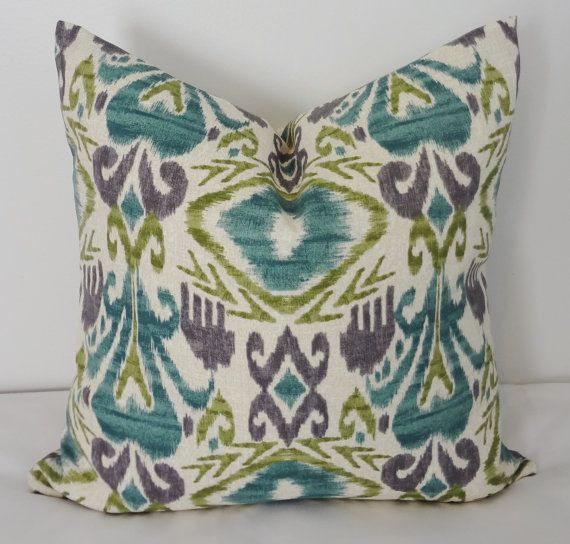 Purple And Lime Green Throw Pillows : OUTDOOR Pillow Cover Teal Green Ikat Pillow Cover Deck Patio Porch 18x18