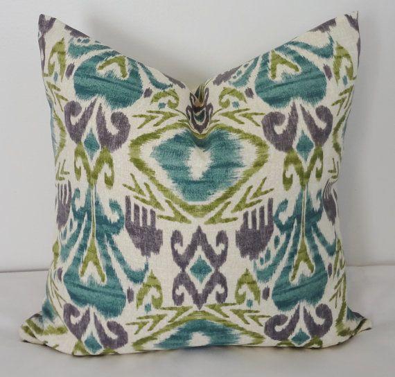 Outdoor Pillow Cover Teal Green Ikat Pillow Cover Deck