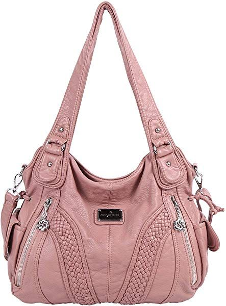 36ecce1494 Amazon.com  Angelkiss Women Top Handle Satchel Handbags Shoulder Bag  Messenger Tote Washed Leather Purses Bag (Pink) …  Shoes