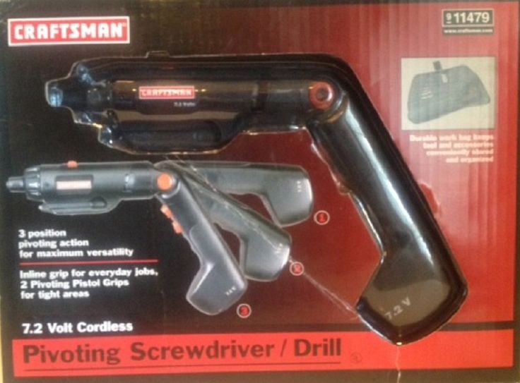"""Craftsman Pivoting Screwdriver / Drill 7.2 Volt Cordless. NEW - Craftsman 7.2 volt cordless screwdriver. On-board bit holder keeps bits close at hand. 1/4"""" Hex collet will accept all hex shank bits. Includes: Electric screwdriver, charger, 22 bits, extension and carry/storage case. SHIPS TODAY. Free Shipping is 2 to 3 day Delivery Service w/Tracking Number. Directional trigger delivers precise control. Built-in work light illuminates the work area."""