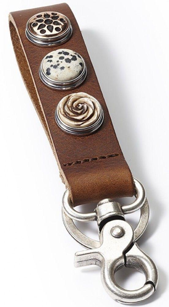 NOOSA Amsterdam Schlüsselanhänger Key Ring Classic Skinny in Midbrown