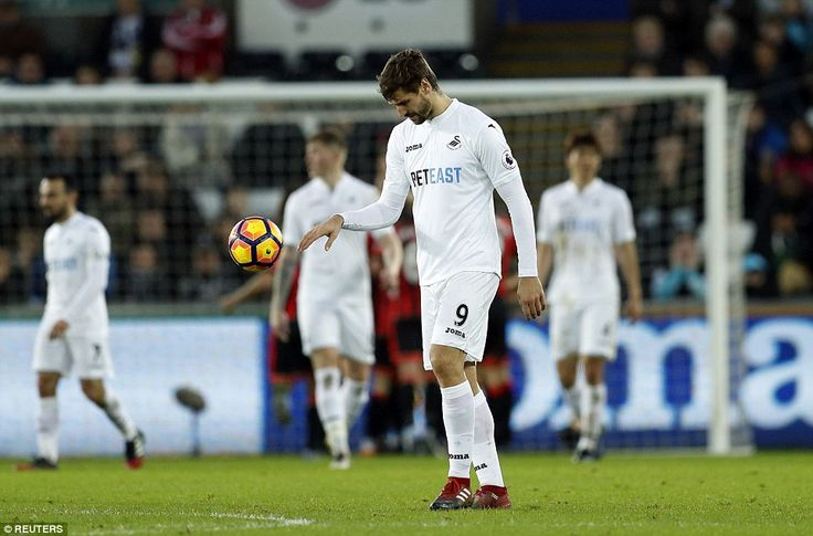 Striker Fernando Llorente cuts a frustrated figure as Swansea go down 2-0 against the Cherries
