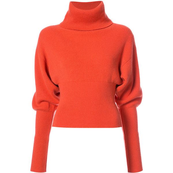 Creatures Of The Wind slouch sleeves turtleneck sweater (23 720 UAH) ❤ liked on Polyvore featuring tops, sweaters, pure cashmere sweaters, slouch sweater, red cashmere sweater, red sweater and cashmere turtleneck