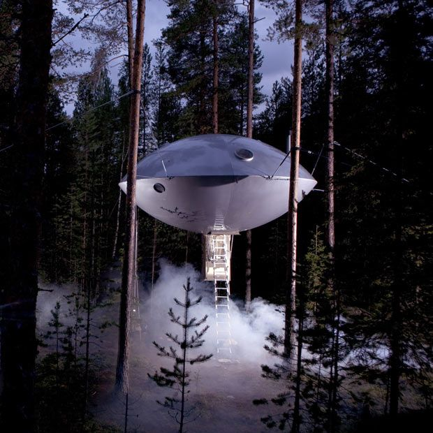 """Hotel in Sweden with various """"tree-house"""" room options. This one is clearly the UFO room."""