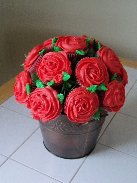"""Red Cupcake Bouquet - inspired by the Disney Classic """"Alice in Wonderland"""""""