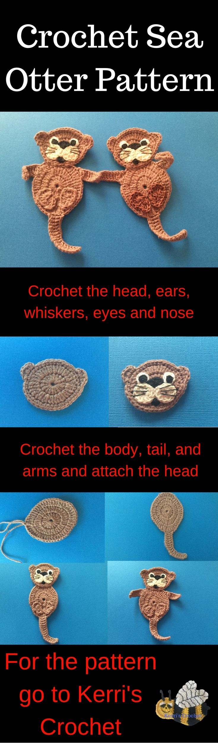 Crochet these sea otters with a free crochet pattern and video tutorial available at Kerri's Crochet.