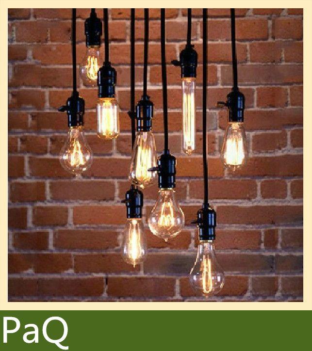 Винтажный edison лампа кулон фары черный бакелит E26 E27 патрон ручка переключателя проволока кофе бары лёгкие светильник