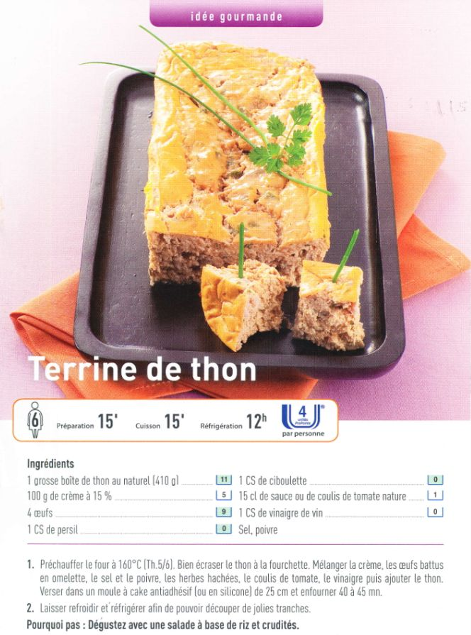 Terrine de thon weight watcher 4 pp