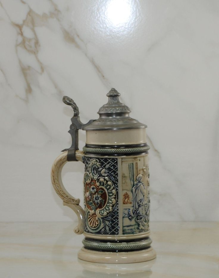 Vintage German Beer Stein with Pewter Lid, Elizabethan Time Period Scene, Floral Motif, Hand Painted, Bier Stein, Tankard, Ceramic Stein by winterparkcollect on Etsy