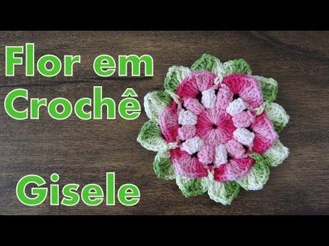 Passo a passo Flor Crochê Gisele - Professora Simone - YouTube