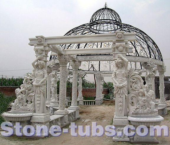 cheap escultura de piedra exterior prgola jardn gazebo con cpula y porche banco compro calidad