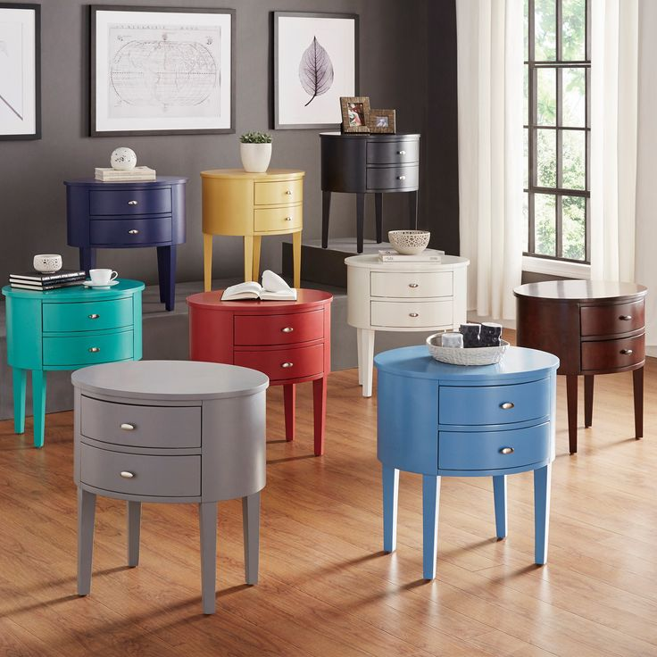 This beautifully crafted table has a curved apron, tapered legs and an edge-rubbed finish. These add to the inherent beauty of this Neo Oval Nightstand.