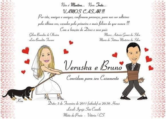 Convite de casamento com caricaturas continue vendo...