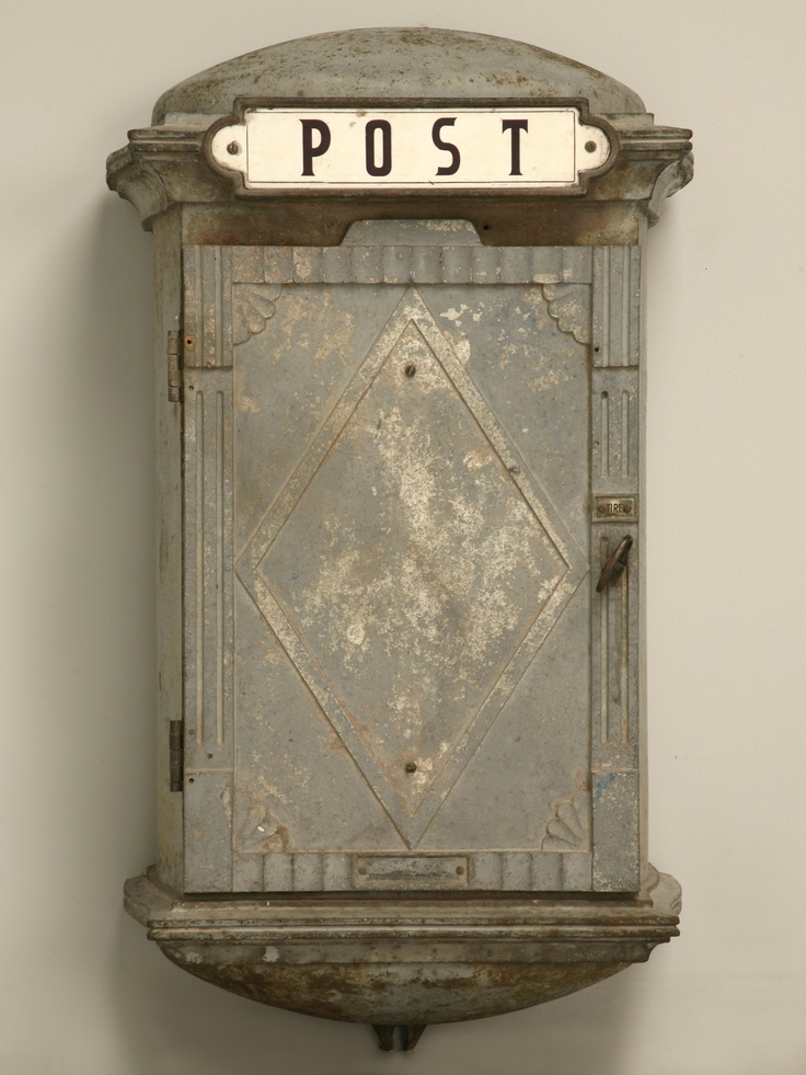 vintage french or dutch mail box... Just imagine what letters passed through it.