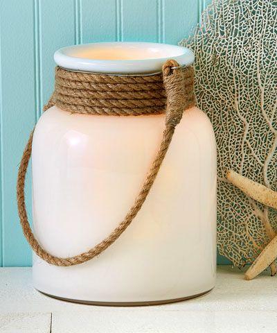 white glass lantern with rope handle inspiring decor. Black Bedroom Furniture Sets. Home Design Ideas