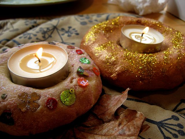 Salt dough candle holders for Diwali