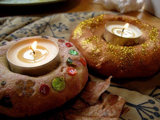 Salt dough candle holders for Diwali