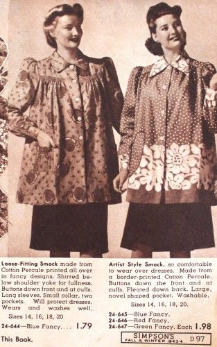 Vintage Maternity Clothes History. 1940′s Maternity smock tops  #vintage #maternity