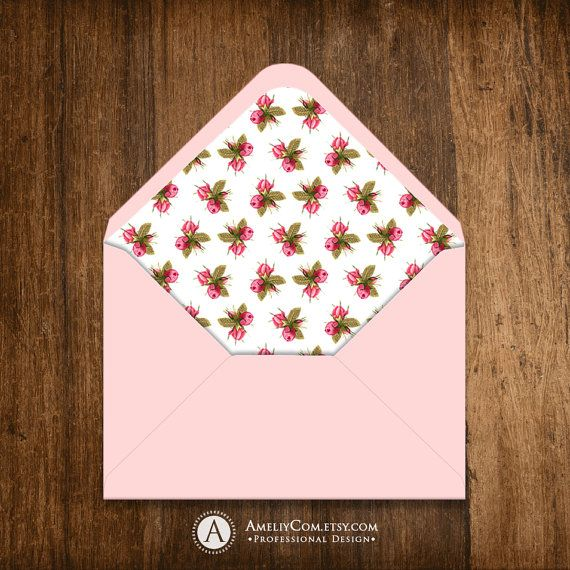 Envelope Liner Printable A6 A7 Instant DownLoad DIY White & Pink Roses Shabby Chic Retro Floral Rustic spring / summer Shower or Wedding