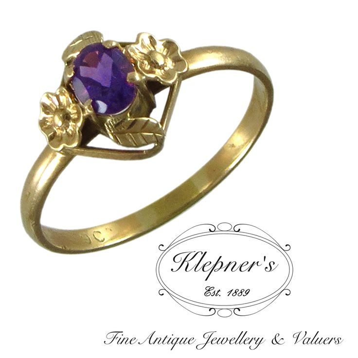 9ct yellow gold Edwardian amethyst flower motif ring.   Visit us at www.klepners.com.au