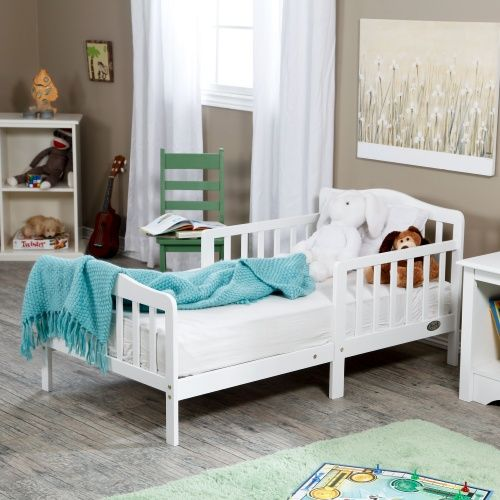 The Orbelle Contemporary Solid Wood Toddler Bed - White - Standard Toddler Beds at Hayneedle (Great site for inexpensive stuff)