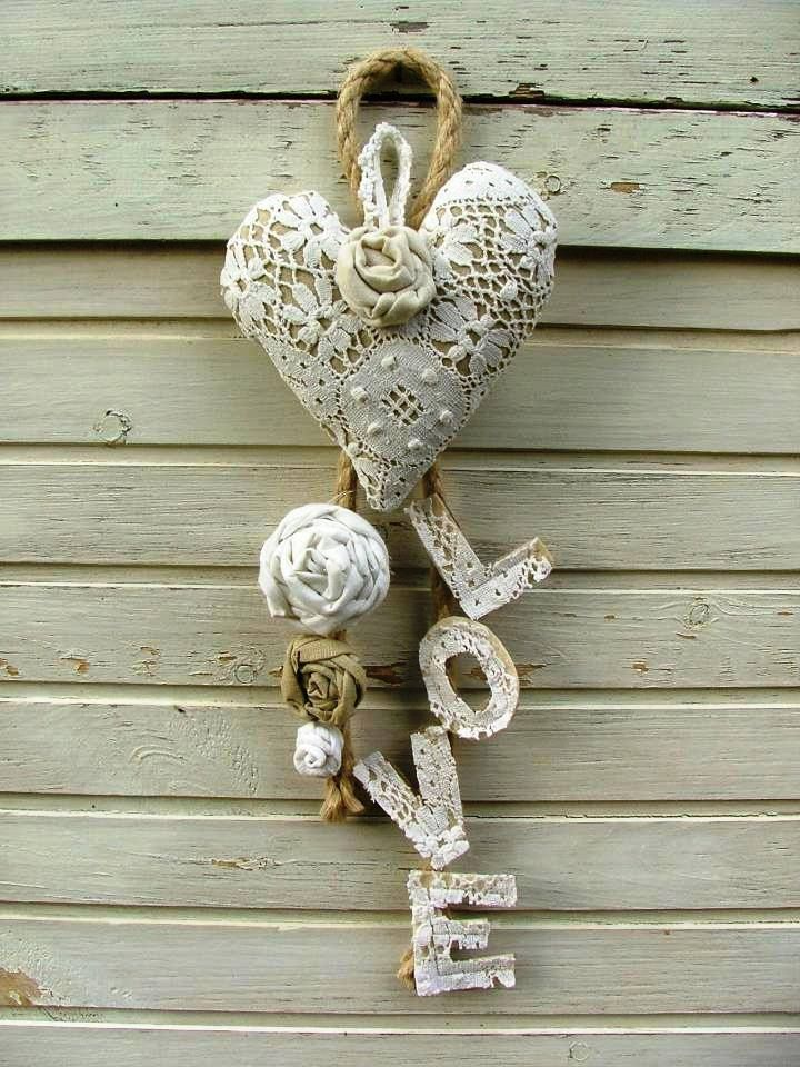 Valentine's Day door decor. I could make this with wood letters and heart, lace and burlap! So cute!