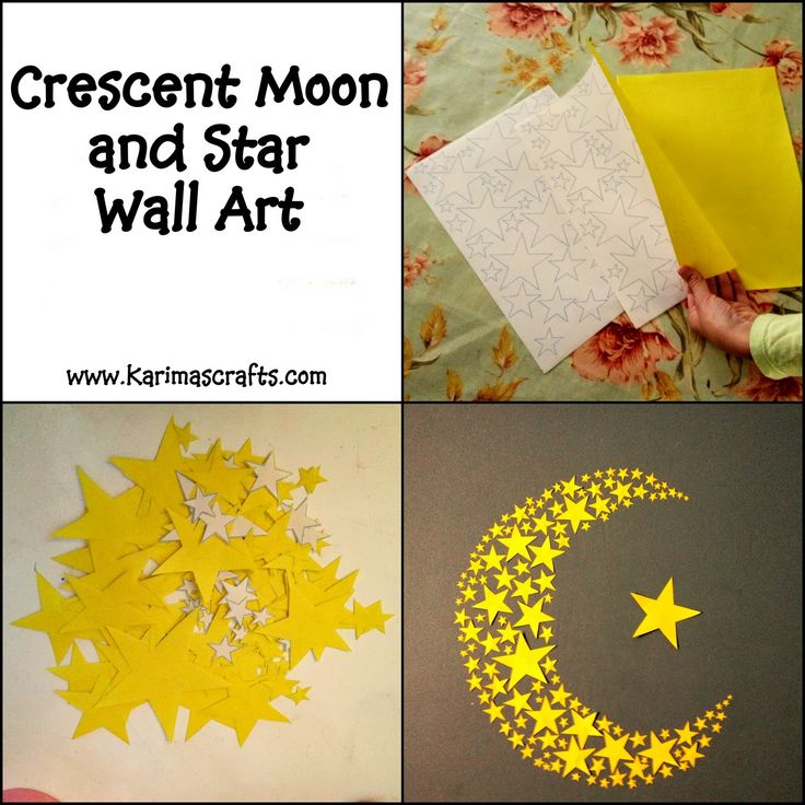 crescent moon and stars wall art ramadan crafts Islam Karima's Crafts