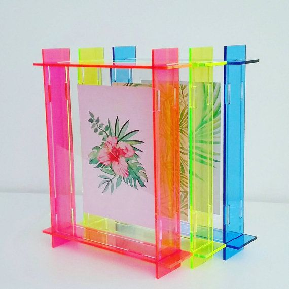 small acrylic box frame neon pink A6 perspex by leckystudio