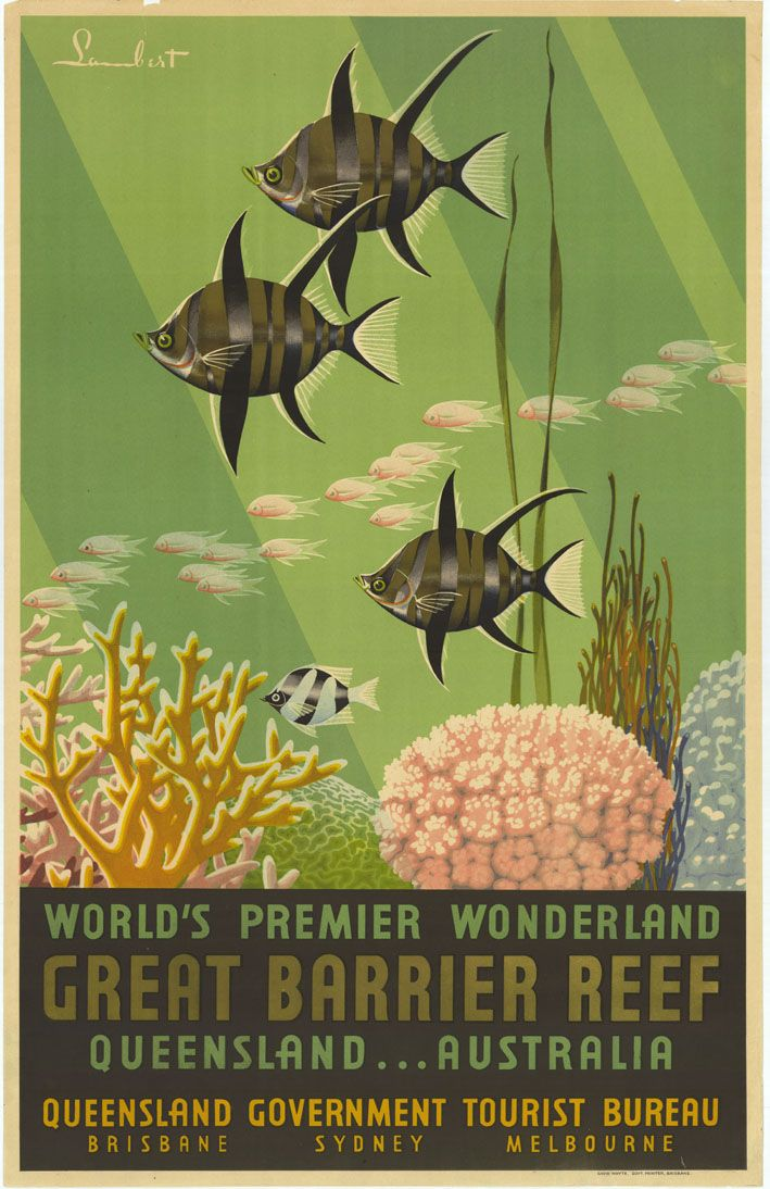 World's Premier Wonderland, Great Barrier Reef, Queensland...Australia. Painted design featuring underwater reef scene, ca. 1939