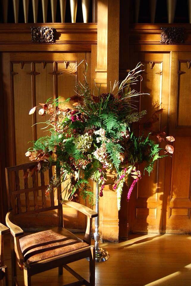 Autumn Pedestal Arrangement Of British Seasonal Flowers Designed For Bolton School By Wild Wondrous Lancashire