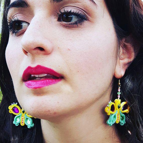 Orecchini in soutache a forma di farfalla My Fairy Tale di IrynArs
