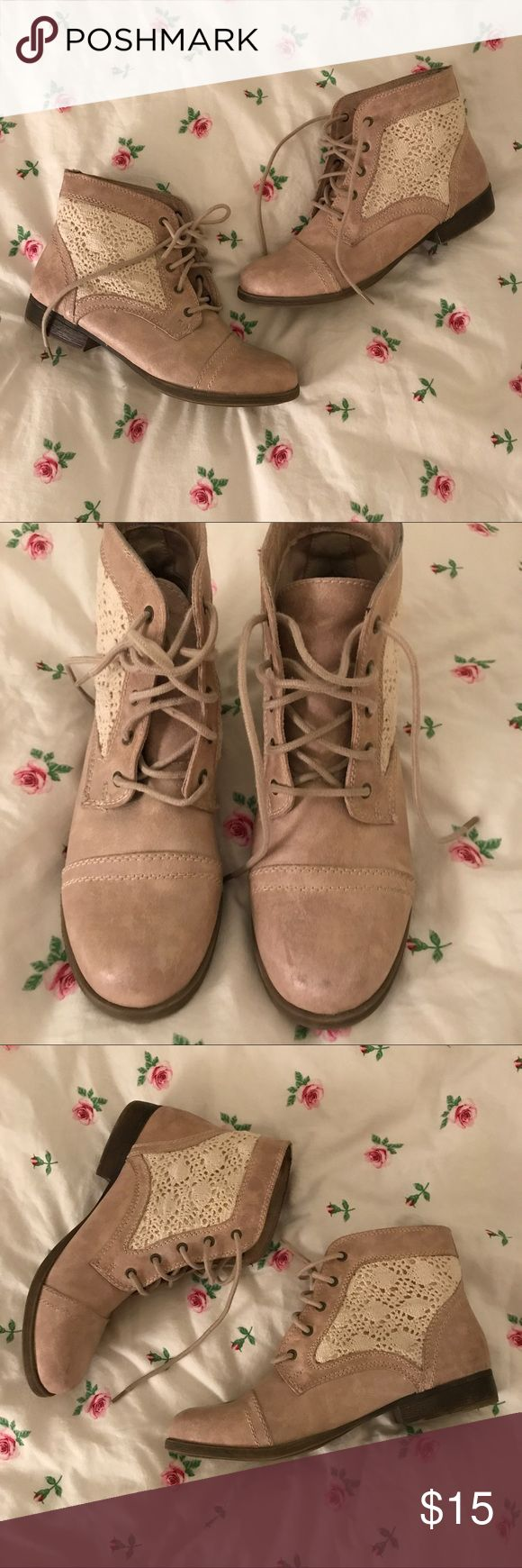 Target boots Pretty beige boots with lace detail on the sides. Barely ever worn! Look brand new. Size 9 1/2. Shoes Ankle Boots & Booties