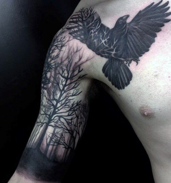 Black Crow Forest Trees Guys Arm And Chest Tattoo