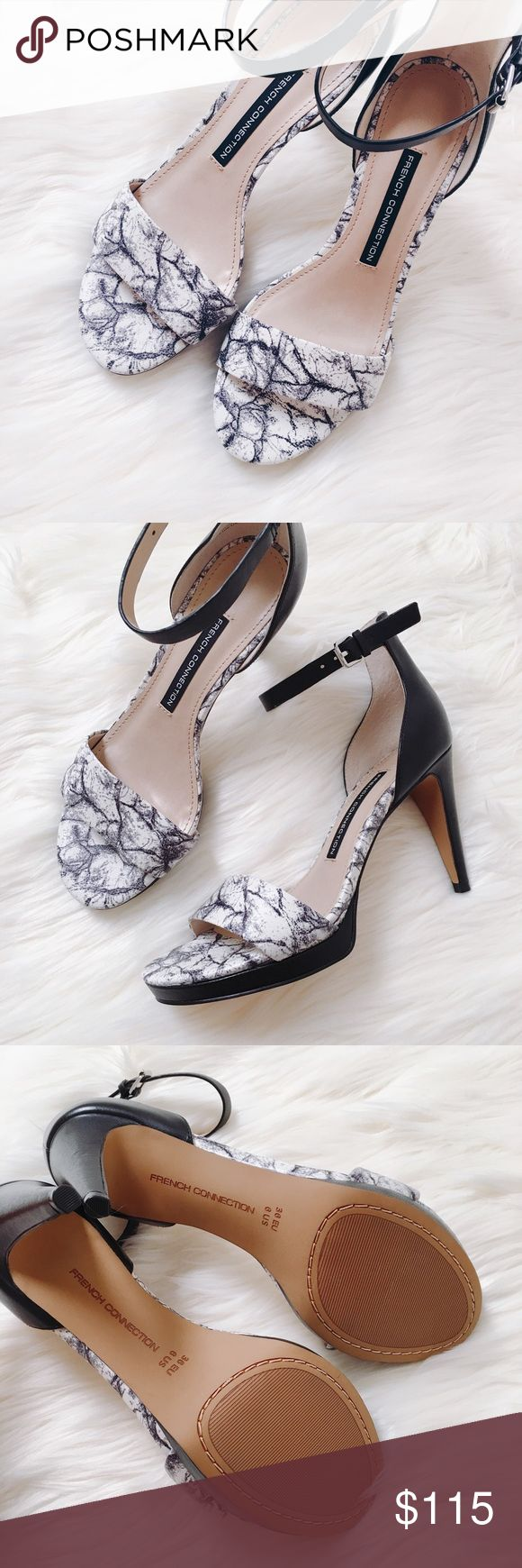 "French Connection 🌷 | open toe high heel sandal Chic ankle strap sandals in a unique marbleized print. Heel height is approx. 3 3/4"". Cute for going out! French Connection Shoes Sandals"