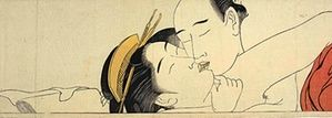 Shunga: Torii Kiyonaga, detalhe tomado de Sode no maki (Rolo horizontal para a manga),