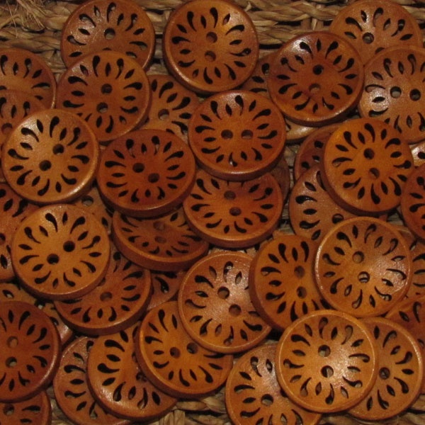 Savannah Carved Wood Button (per button) - $0.65
