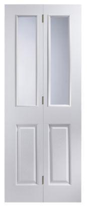 4 Panel White Woodgrain Internal Glazed Bi-fold Door, 5397007097634 ; 5397007097603