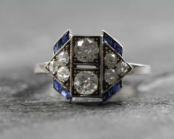 Antique Art Deco Diamond & Sapphire Engagement Ring by RubyGrays,  Love everything about this ring....
