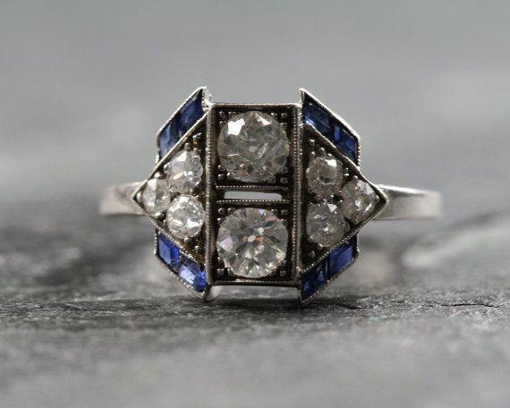 Antique Art Deco Ring, something old & blue.: Sapphire Engagement Rings, Sapphire Rings, Antiques Art, Art Deco Diamonds, Deco Rings, Jewelry, Art Deco Ring, Antique Art, Vintage Art