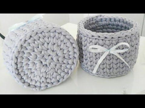 Penye ipten yuvarlak sepet yapımı (püf noktaları) - YouTube