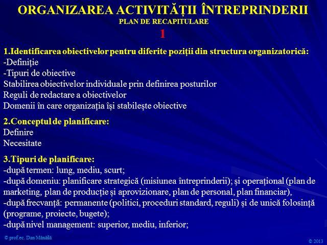 Profu`economist: Planificare Operatională