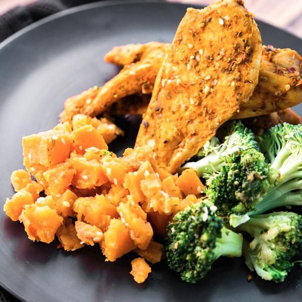 Portuguese Free Range Chicken with sesame sweet potato and broccoli 350g