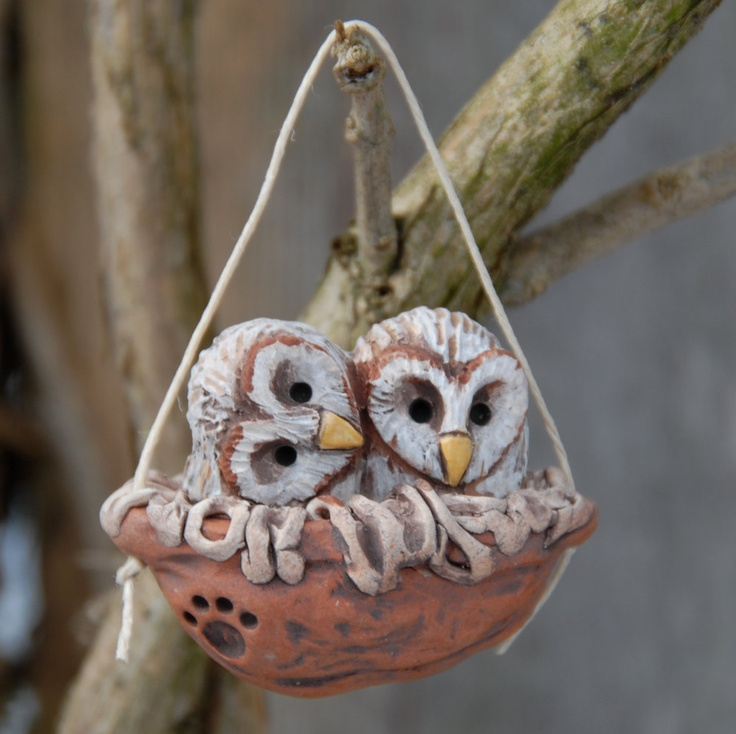 Baby barn owls walnut nest. $15.00, via Etsy.  @Amanda Howard , need any owl ornaments?